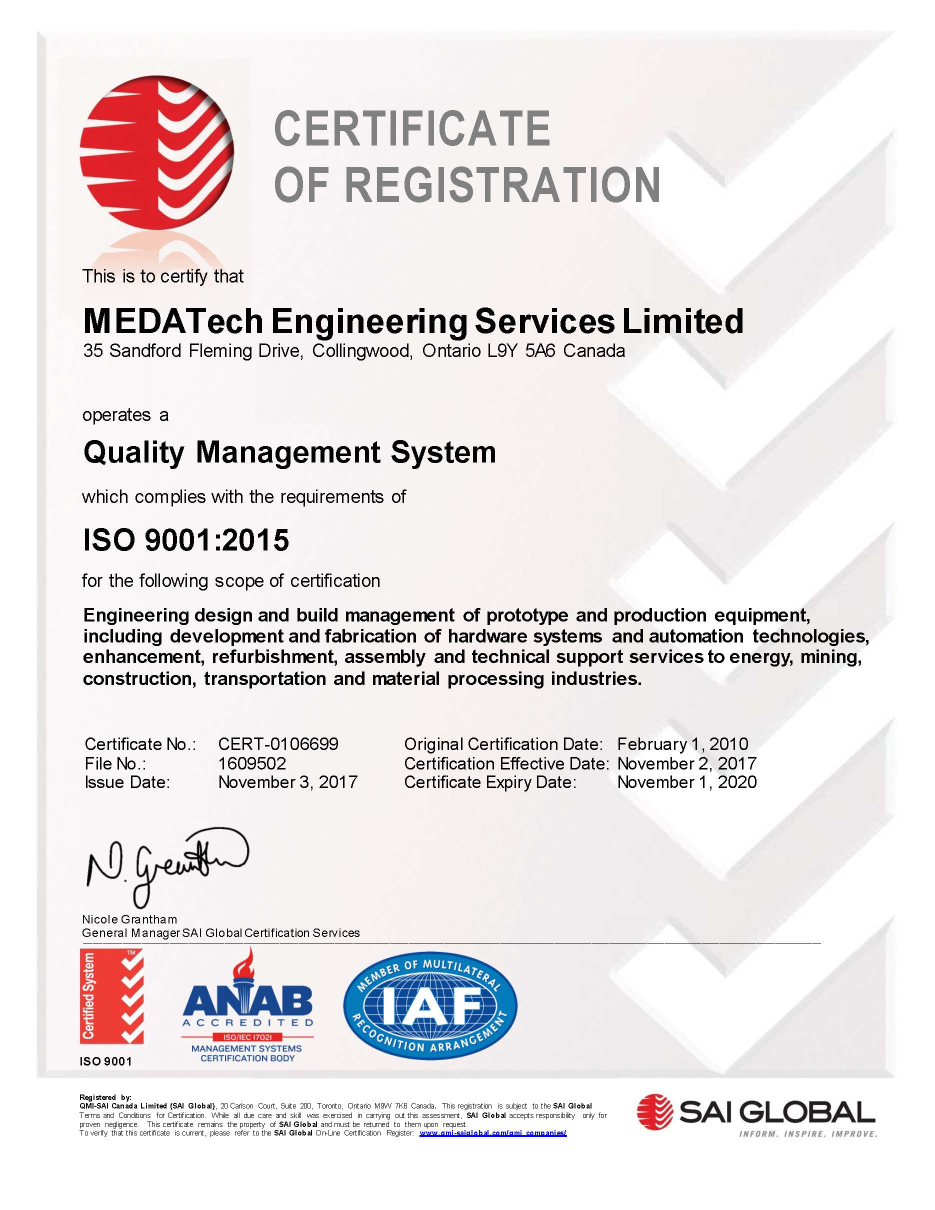 MEDATech ISO 9001-2015 Cert of Registration - 2020 11 01