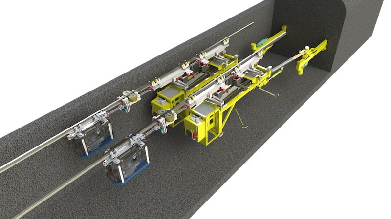 A concept rendering of ISO at face double drill. A case study that leveraged MEDATech's electric powered heavy equipment prototyping services.