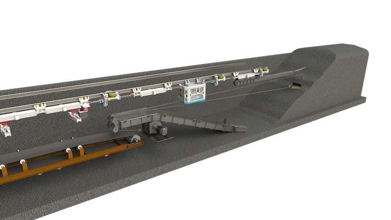 A concept rendering of an ISO AT Face - single conveyor. A case study that leveraged MEDATech's electric powered heavy equipment prototyping services.