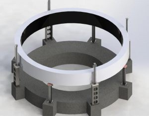 A rendering of the Andritz Stator Jacking System that required MEDATech's hydraulic system design services
