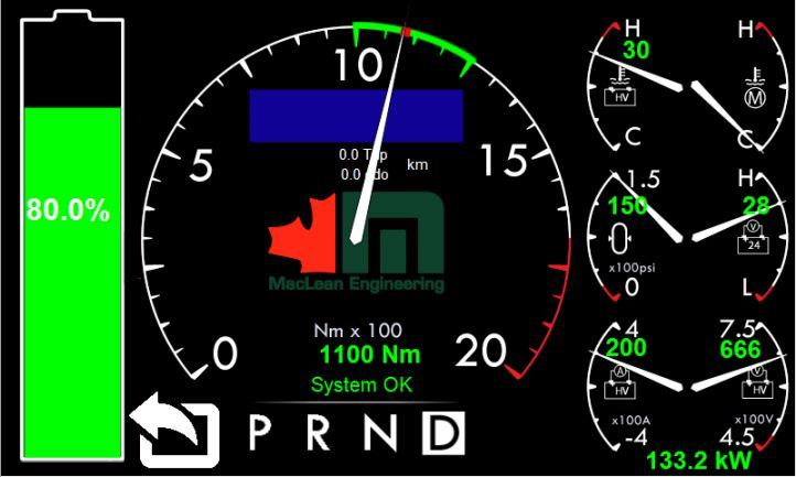 A picture of a screen dsiplaying a battery powered electric mine truck's brake test results