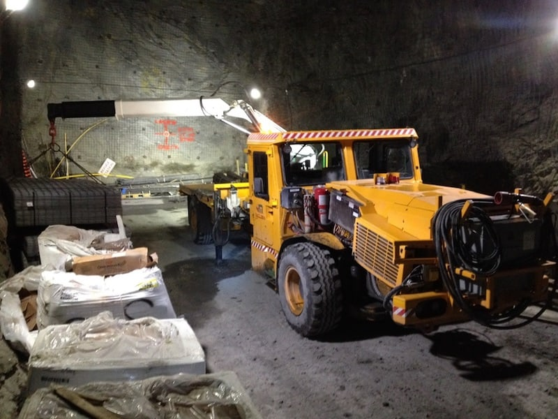 A picture of battery powered electric mine truck working underground
